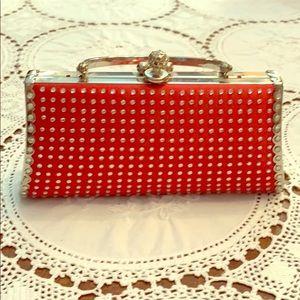 Handbags - Red jeweled evening bag